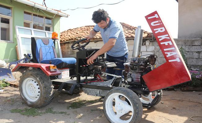 İnşaat işçisi hurda parçalarla traktör yaptı
