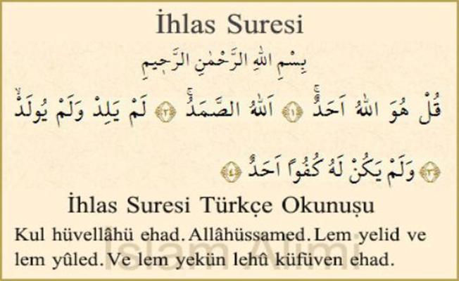 İhlas Suresi Türkçe Okunuşu Anlamı Meali