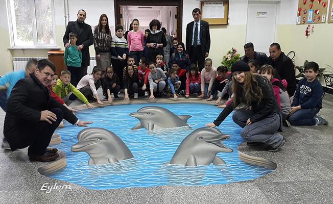 Tekirdağlı ressamdan Bulgaristan'da 3D çalışması
