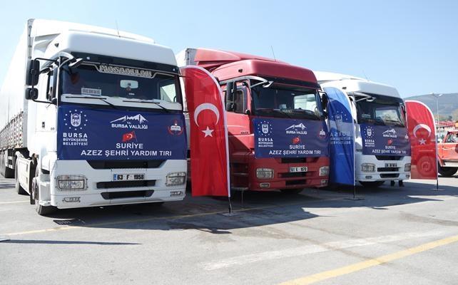 Bursa'dan Azez'e 3 tır kırtasiye malzemesi
