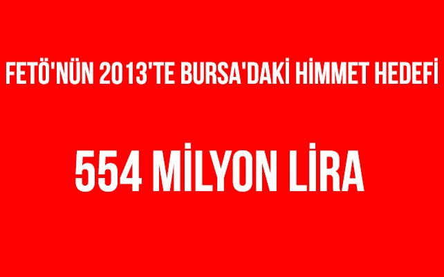 FETÖ'nün 2013'te Bursa'daki himmet hedefi 554 milyon lira