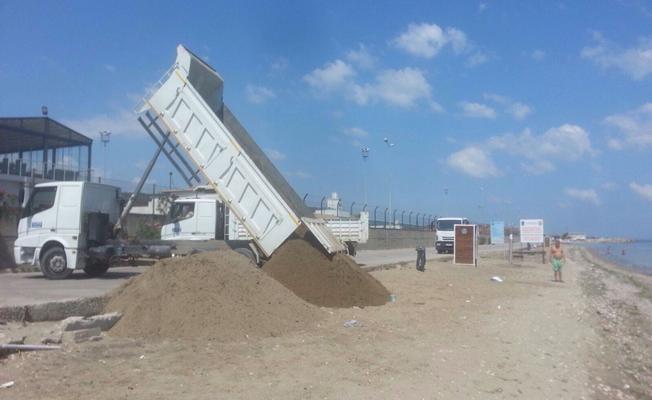 Güzelyalı halk plajına kum takviyesi