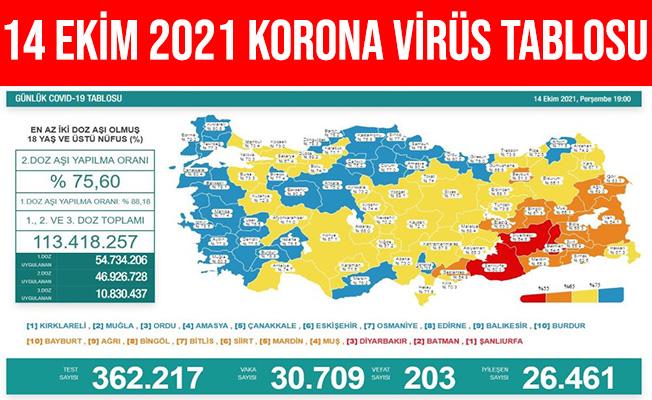 14 Ekim 2021 Türkiye Koronavirüs Tablosu Açıklandı