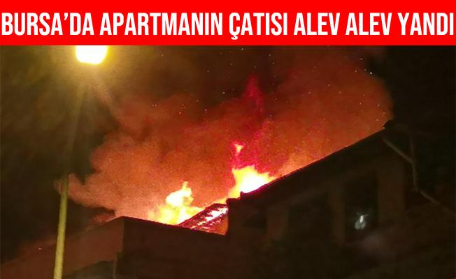 Bursa'da Apartmanın Çatısı Alev Alev Yandı