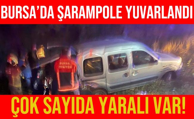 Bursa'da Hafif Ticari Araç Şarampole Yuvarlandı: 3 Yaralı
