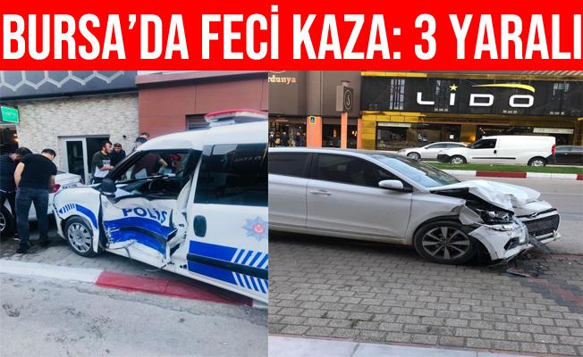 Bursa'da Otomobil İle Polis Otosu Çarpıştı: 2'si Polis 3 Yaralı