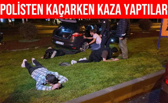 Bursa'da Polis'in Önünde Drift Yaptılar: Kaza Yapınca Yakalandılar