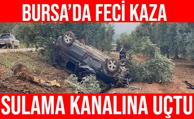 Bursa'daki Trafik Kazasında Araç Sulama Kanalına Uçtu