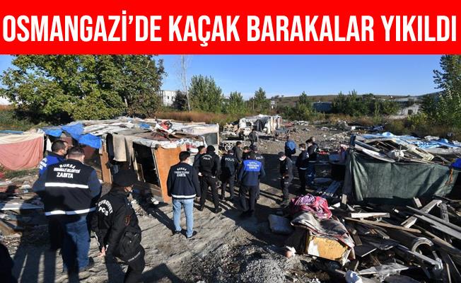Bursa Osmangazi'de Zabıtadan Kaçak Baraka Operasyonu