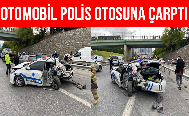 İstanbul Ataşehir'de Otomobil Uygulama Yapan Polis'e Çarptı