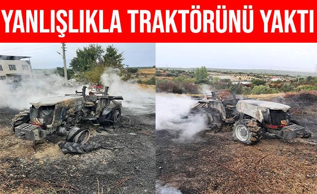 Manisa'da Evinin Önünde Ateş Yakarken Traktörünü Yaktı