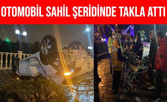 Zonguldak Ereğli'de Otomobil Sahil Bandında Takla Attı