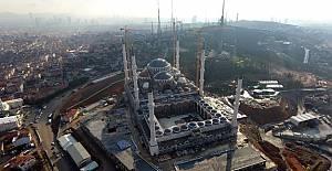 Çamlıca Camii'ndeki son durum havadan görüntülendi