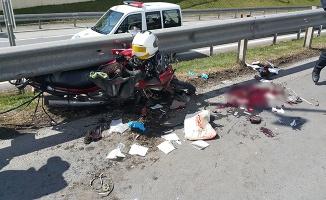 15 Temmuz Şehitler Köprüsü girişinde motosiklet kazası: 1 yaralı
