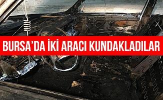 Bursa'da iki otomobil kundaklandı