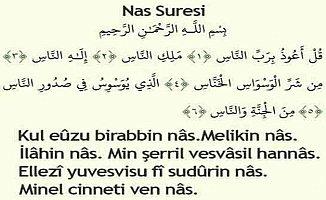 Nas Suresi Türkçe Okunuşu Anlamı Meali