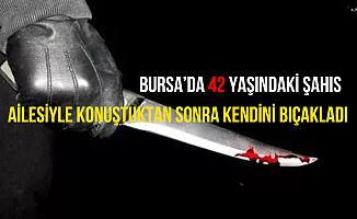 Bursa İnegöl'de bir şahıs sokak ortasında kendini bıçakladı