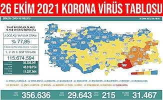 26 Ekim 2021 Türkiye Korona Virüs Tablosu