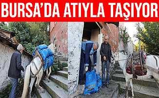 Bursa'da Araç Girmeyen Yerlere AT'ıyla Yük Taşıyor