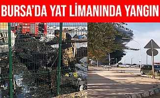 Bursa'da Kurşunlu Yat Limanında Yangın Çıktı