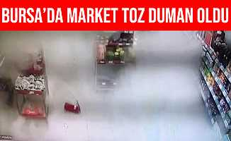 Bursa'da Markette Yere Düşen Yangın Tüpü Korkuttu