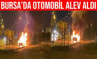 Bursa'da Seyir Halindeki Otomobil Aniden Yanmaya Başladı