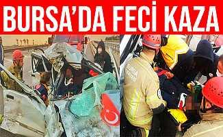 Bursa'daki Kazada Araçta Sıkışan 2 Kişiyi İtfaiye Kurtardı