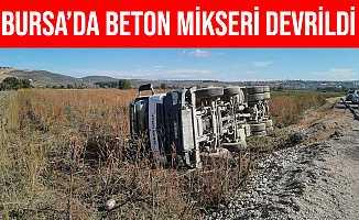 Bursa İnegöl'de Beton Mikseri Tarlaya Devrildi