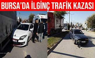 Bursa İnegöl'de Kontrolden Çıkan Otomobil 2 Araca Çarptı