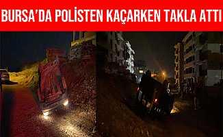 Bursa İnegöl'de Polisten Kaçarken Takla Attılar