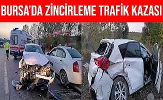 Bursa İnegöl'deki Zincirleme Trafik Kazasında 4 Kişi Yaralandı