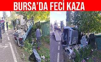 Bursa Orhangazi'deki Trafik Kazasında Otomobil Takla Attı