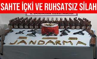 Sinop Türkeli'de Sahte Alkol ve Ruhsatsız Silah Ele Reçirildi